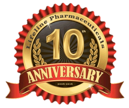 Lifeline Pharmaceuticals 10th Anniversary - 2006-2016 (Logo)